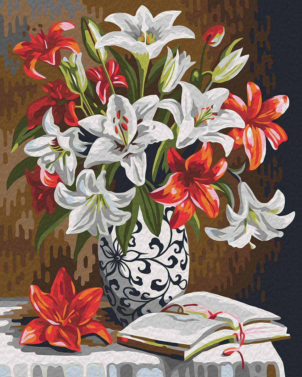 """Набор для рисования по номерам Мосфа """"Красно-белые лилии"""", 40 х 50 см"""