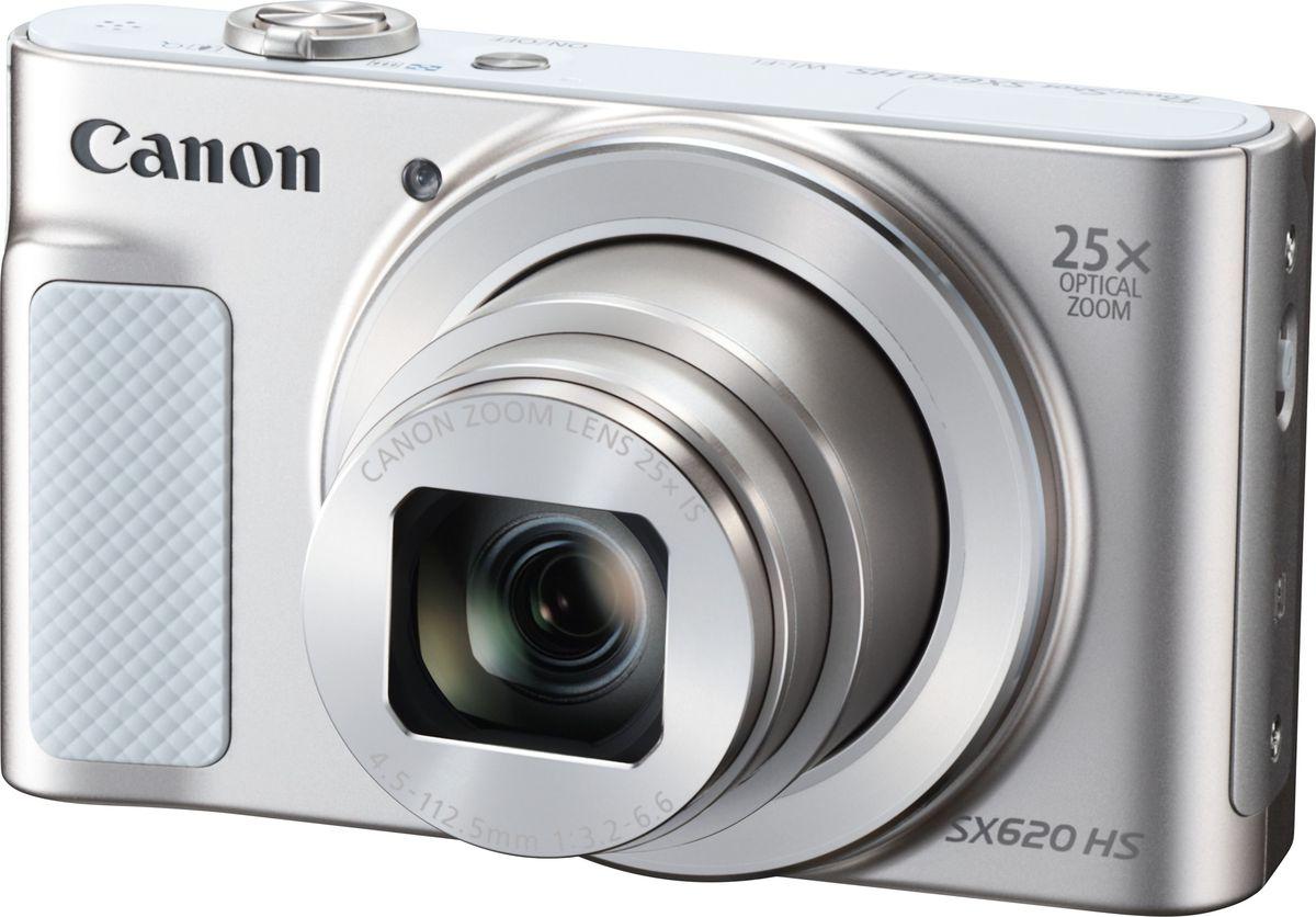 Canon PowerShot SX620 HS, White компактная фотокамера1074C002Простая, портативная камера Canon PowerShot SX620 HS с 25x зумом, поддержкой Wi-Fi с NFC, оснащена всеми функциями, необходимыми для создания потрясающих фотографий и видеороликов, и их отправки на мобильные устройства.Станьте ближе к объекту съемки, куда бы вы не отправились, с помощью этой миниатюрной камеры карманного формата с большим оптическим зумом 25x и корпусом толщиной всего 27,9 мм. Делайте удивительно четкие снимки при любом освещении благодаря системе HS и создавайте эффектные фотографии пейзажей со сверхшироким углом обзора 25 мм.Wi-Fi с функцией NFC обеспечивает подключение камеры к совместимому мобильному устройству одним касанием. Используйте приложение Camera Connect и функцию удаленного управления съемкой, чтобы создавать интересные автопортреты и размещать свои работы в социальных сетях. Используйте функцию синхронизации изображений, чтобы автоматически сохранять новые изображения в облачных сервисах, например, irista от Canon.Снимать замечательные видеоролики просто и весело. Одно нажатие кнопки - и вы уже снимаете видео Full HD (1080p) в формате MP4. Почувствуйте свободу творчества при видеосъемке с использованием оптического зума и позвольте камере автозумированием автоматически выбрать композицию кадра. Оцените неизменную четкость и плавность изображения благодаря динамическому стабилизатору изображения.Просто наведите камеру и делайте фантастические фотографии или видео в гибридном автоматическом режиме, который сам выбирает подходящие настройки камеры, а затем воспользуйтесь функцией Story Highlights для создания видеодайджеста дня или события. Интеллектуальный оптический стабилизатор изображения гарантирует четкие фотографии и плавные видеоролики в любых условиях, а большой ЖК-дисплей 7,5 см (3,0) обеспечивает простоту съемки и воспроизведения.При нажатии кнопки спуска затвора функция Творческий снимок автоматически создает 5 дополнительных уникальных изображений исходного снимка