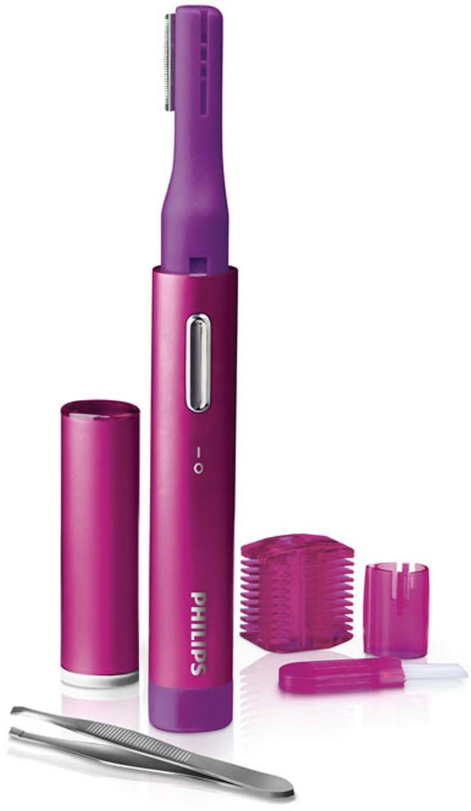 Philips HP6390/10 женский триммерHP6390/10Женский триммер Philips HP6390/10.Простое и безопасное удаление волос на лице:С помощью насадки-триммера можно с легкостью избавиться от нежелательных волос на лице и придать коже гладкость. Мини-триммер Philips позволяет точно и без боли удалять волоски на всех участках лица, в том числе над губой и на подбородке, а также придать форму бровям. Идеальная гладкость кожи гарантирована!Идеальная форма бровей благодаря специальной насадке:Точная коррекция формы бровей. Прибор позволяет четко контролировать зону захвата триммера при удалении волосков на лице. Не волнуйтесь, прибор не удалит ни одного лишнего волоска!Две установки длины (2 мм и 4 мм) для точного моделирования:Насадка-гребень с 2 установками длины позволяет точно подравнять брови на нужную длину (2 или 4 мм). Просто зафиксируйте гребень на насадке-триммере и приступайте.Легкость и компактный размер для вашего удобства:Триммер Philips PrecisionPerfect — компактный, портативный и простой в использовании прибор для точного подравнивания и удаления волос. Вас порадует его приятный цвет, стильная форма, хромированное кольцо и дизайн кнопок. Прибор легко помещается в сумке, а специальная крышка защищает насадку-триммер от повреждений. Чтобы включить прибор, сдвиньте переключатель в положение Вкл., приложите насадку-триммер к коже и перемещайте прибор против роста волос. Для оптимального результата во время обработки слегка натягивайте кожу.Дополнительный компактный пинцет поможет удалить отдельные волоски на лице. В комплект входит мягкая щеточка, которая значительно упрощает очистку. Для продления срока службы следите за тем, чтобы прибор не намокал.