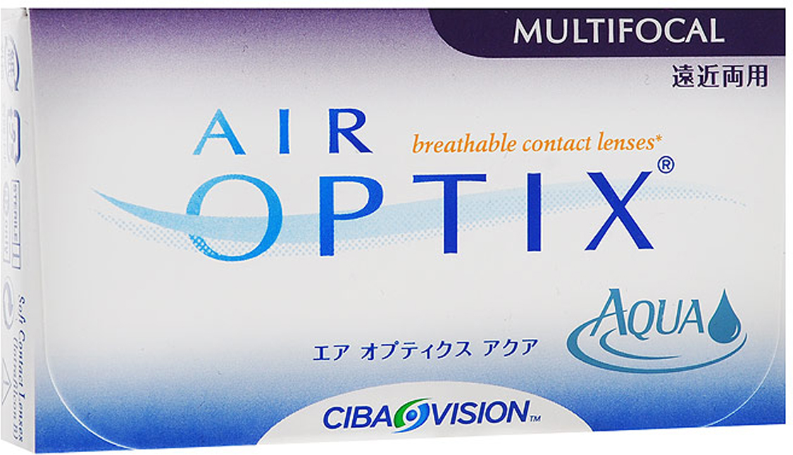 Alcon-CIBA Vision контактные линзы Air Optix Aqua Multifocal (3шт / 8.6 / 14.2 / +2.00 / Low)12094Контактные линзы Air Optix Aqua Multifocal предназначены для коррекции возрастной дальнозоркости. Если для работы вблизи или просто для чтения вам необходимо использовать очки, то эти линзы помогут вам избавиться от них. В линзах Air Optix Aqua Multifocal вы будете одинаково четко видеть как предметы, расположенные вблизи, так и удаленные предметы. Линзы изготовлены из силикон-гидрогелевого материала лотрафилкон Б, который пропускает в 5 раз больше кислорода по сравнению с обычными гидрогелевыми линзами. Они настолько комфортны и безопасны в ношении, что вы можете не снимать их до 6 суток. Но даже если вы не собираетесь окончательно сменить очки на линзы, мы рекомендуем вам иметь хотя бы одну пару таких линз для экстремальных ситуаций, например для занятий спортом. Контактные линзы Air Optix Aqua Multifocal имеют три степени аддидации: Low (низкую) до +1.00; Medium (среднюю) от +1.25 до +2.00 и High (высокую) свыше +2.00. Характеристики:Материал: лотрафилкон Б. Кривизна: 8.6. Оптическая сила: + 2.00. Содержание воды: 33%. Диаметр: 14,2 мм. Cтепень аддидации: Low (низкая). Количество линз: 3 шт. Размер упаковки: 9 см х 5 см х 1 см. Производитель: Малайзия. Товар сертифицирован.Контактные линзы или очки: советы офтальмологов. Статья OZON Гид
