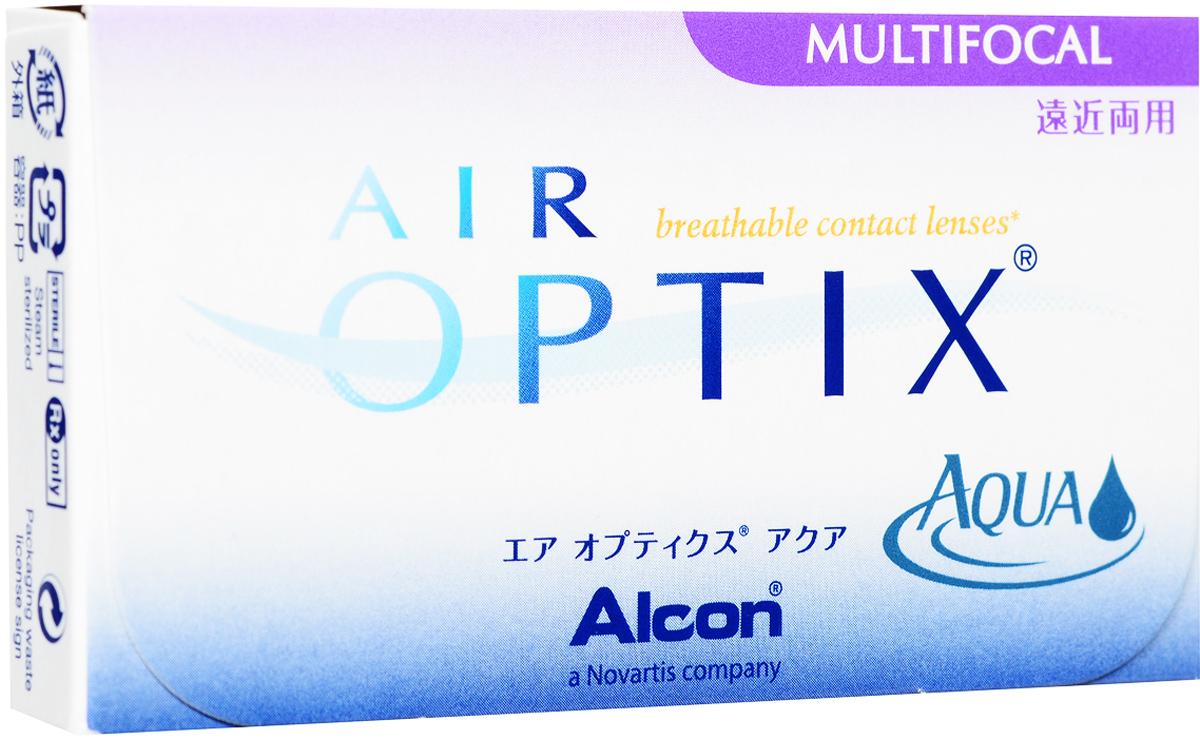 Alcon-CIBA Vision контактные линзы Air Optix Aqua Multifocal (3 шт / 8.6 / 14.2 / +4.50 / Med)31061Контактные линзы Air Optix Aqua Multifocal предназначены для коррекции возрастной дальнозоркости. Если для работы вблизи или просто для чтения вам необходимо использовать очки, то эти линзы помогут вам избавиться от них. В линзах Air Optix Aqua Multifocal вы будете одинаково четко видеть как предметы, расположенные вблизи, так и удаленные предметы. Линзы изготовлены из силикон-гидрогелевого материала лотрафилкон В, который пропускает в 5 раз больше кислорода по сравнению с обычными гидрогелевыми линзами. Они настолько комфортны и безопасны в ношении, что вы можете не снимать их до 6 суток.Но даже если вы не собираетесь окончательно сменить очки на линзы, мы рекомендуем вам иметь хотя бы одну пару таких линз для экстремальных ситуаций, например для занятий спортом. Контактные линзы Air Optix Aqua Multifocal имеют три степени аддидации: Low (низкую) до +1,00; Medium (среднюю) от +1,25 до +2,00 и High (высокую) свыше +2,00. Характеристики:Материал: лотрафилкон Б. Кривизна: 8.6. Оптическая сила: + 4.50. Содержание воды: 33%. Диаметр: 14,2 мм. Cтепень аддидации: Medium (средняя). Количество линз: 3 шт. Размер упаковки: 9 см х 5 см х 1 см.Контактные линзы или очки: советы офтальмологов. Статья OZON Гид