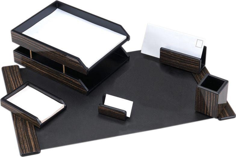 Delucci Настольный канцелярский набор 6 предметов цвет эбонитовое дерево255635Набор из натурального дерева является идеальным подарком руководителю, украсит любой кабинет или офис.В состав входят: подкладка для письма, подставка для бумажного блока, подставка для визитных карточек, подставка для конвертов, подставка для карандашей, двухуровневый лоток для бумаг.
