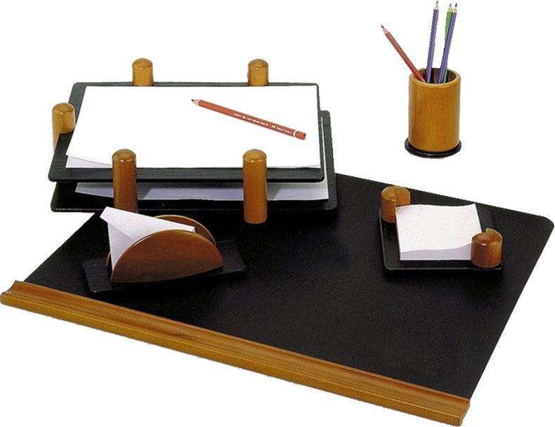 Delucci Настольный канцелярский набор 5 предметов цвет черное дерево255636;255636Набор Delucci из натурального дерева является идеальным подарком руководителю, украсит любой кабинет или офис.В состав входят: подкладка для письма, подставка для бумажного блока, подставка для конвертов, подставка для карандашей, двухуровневый лоток для бумаг.