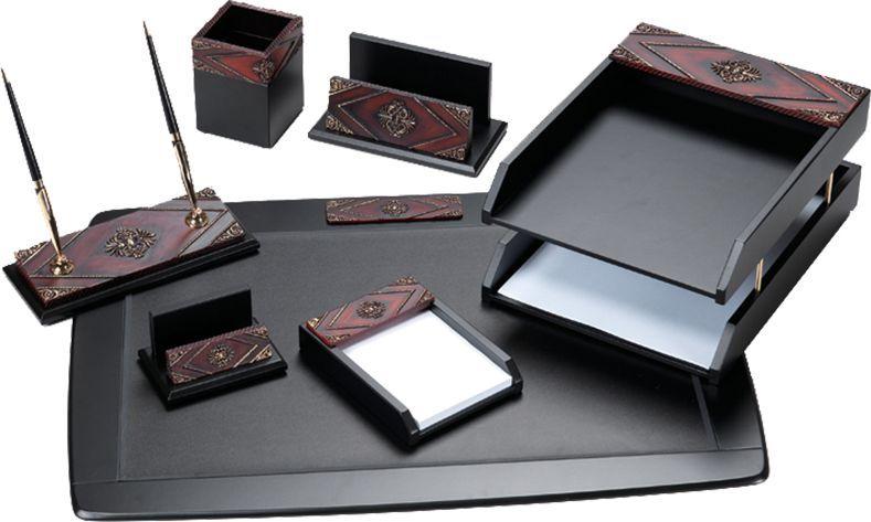 Delucci Настольный канцелярский набор 7 предметов цвет красное дерево - Органайзеры, настольные наборы