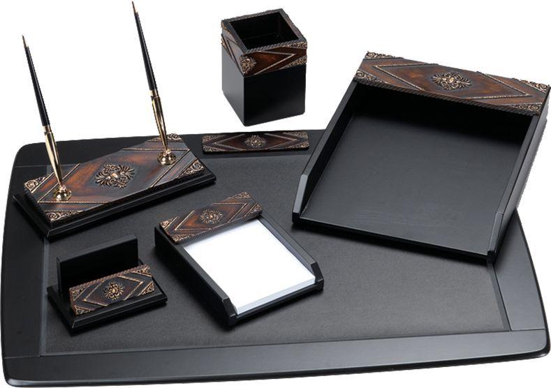 Delucci Настольный канцелярский набор 6 предметов цвет темно-коричневый орех - Органайзеры, настольные наборы