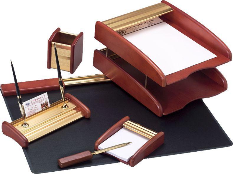 Delucci Настольный канцелярский набор 6 предметов цвет розовое дерево -  Канцелярские наборы