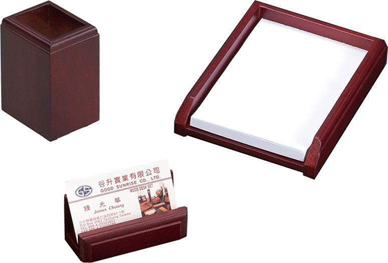 Delucci Настольный канцелярский набор 3 предмета цвет красное дерево 255642 - Органайзеры, настольные наборы