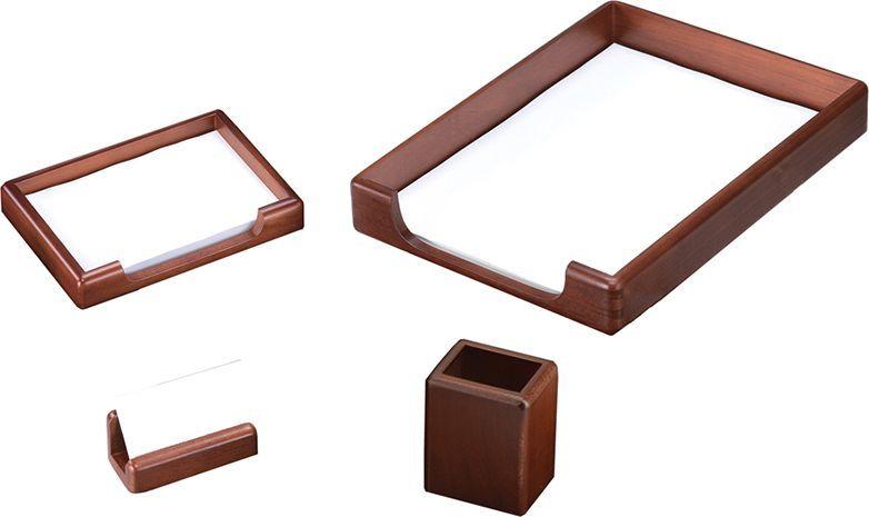 Delucci Настольный канцелярский набор 4 предмета цвет темно-коричневый орех 255644255644;255644Набор из натурального дерева является идеальным подарком руководителю. Он украсит любой кабинет или офис.В состав входят: подставка для бумажного блока, подставка для визитных карточек, подставка для карандашей, лоток для бумаг.