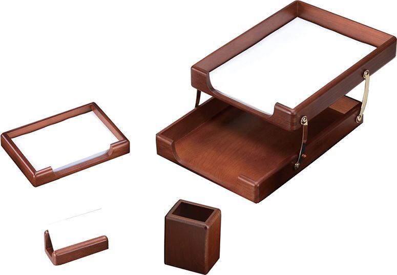 Delucci Настольный канцелярский набор 4 предмета цвет темно-коричневый орех 255645 -  Канцелярские наборы