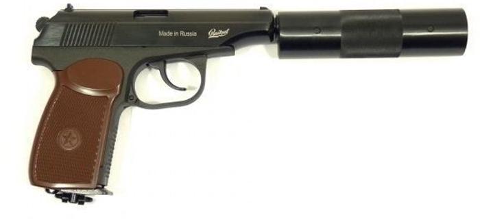 Пистолет пневматический Калашников, с фальшглушителем, обновленная рукоятка. МР-654К-22 пистолет пневматический калашников мр 651кс 07