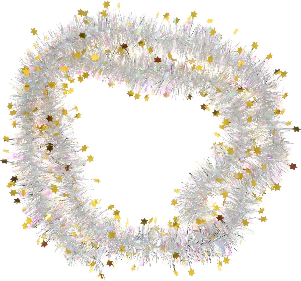 Мишура новогодняя Sima-land, цвет: серебристый, золотой, диаметр 5 см, длина 2 м. 702615 мишура новогодняя sima land цвет серебристый желтый диаметр 4 см длина 200 см 702624