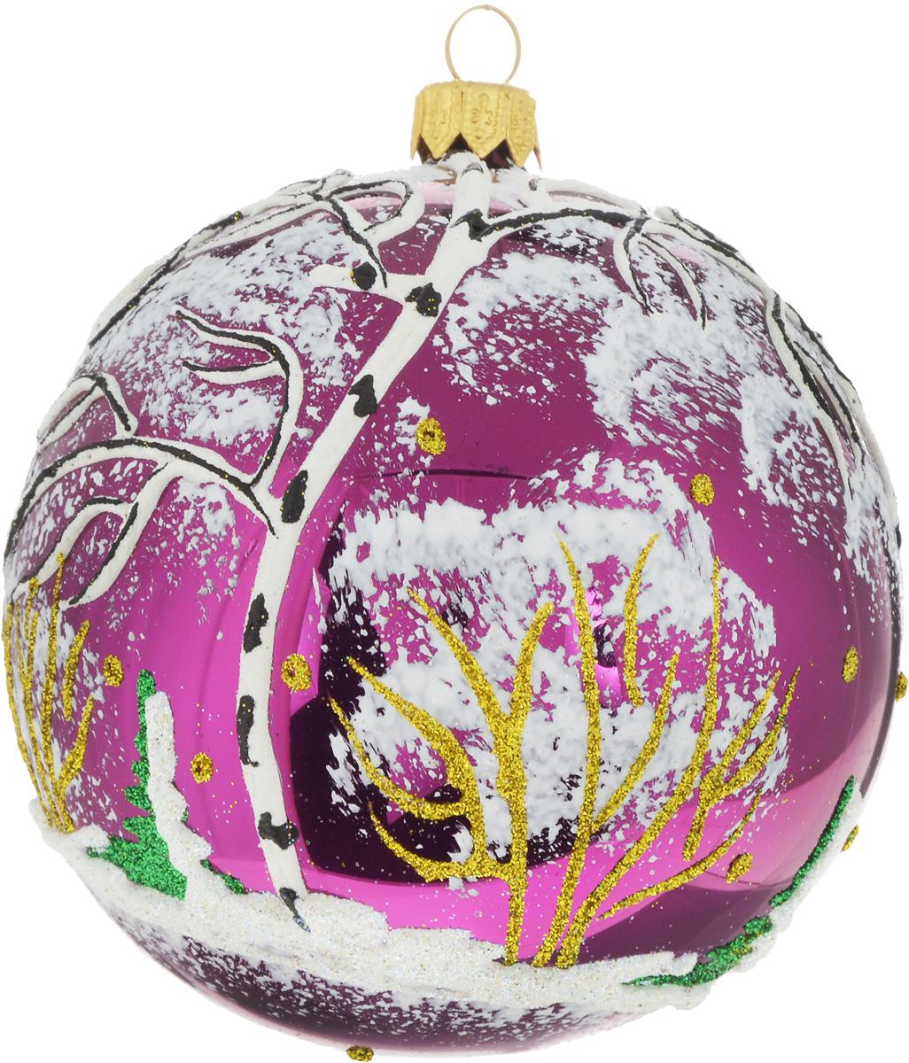 Новогоднее елочное украшение Иней Березка, цвет: сиреневый, белый, диаметр 10 см1519286_малиновыйЯркий елочный шар ручной работы Березка, изготовленный из стекла, станет символом приближающегосяпраздника. Игрушка послужит прекрасным подарком, как для ребенка, так и для взрослого, а также дополнитновогодний интерьер. Украшение будет отлично смотреться на праздничной елке.Диаметр шара: 10 см.