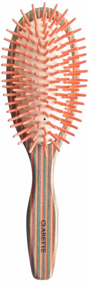 Clarette Щетка для волос массажная на подушке большая, цвет: красный манекен с натуральными волосами