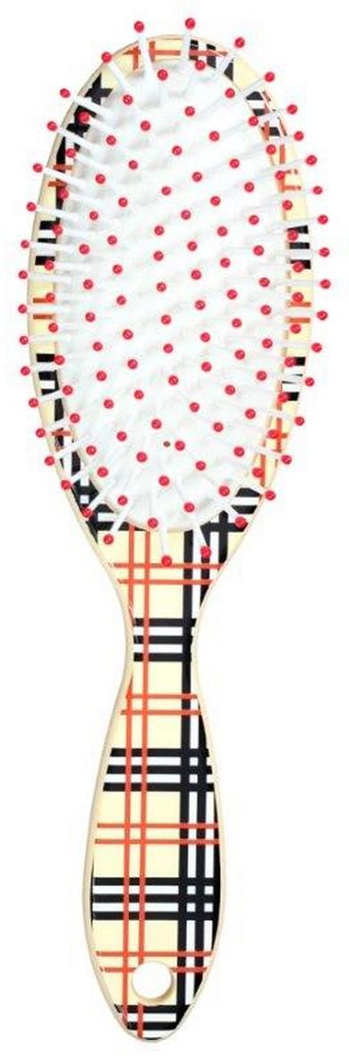 Clarette Щетка для волос на подушке овальная, цвет: бежевый клеткаCEB 431Clarette представляет новую коллекцию щеток для волос-Ассорти. Это разнообразие дизайнов, включающие забавные детские принты и принт в клетку. Пластмассовые зубья с массажными шариками на концах оказывают легкое массажное воздействие на кожу головы