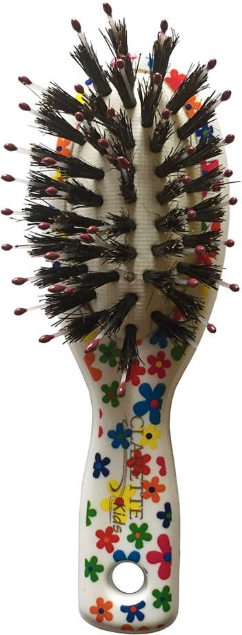 Clarette Щетка для волос мини со смешанной щетиной, цвет: белый с принтом, цветочекCLK 457Clarette представляет специально разработанную для детей коллекцию Clarette Kids . Щетка для волос мини со смешанной щетиной Натуральная щетина дикого кабана предает волосам блеск, предотвращает ломкость и сечеиие волос . Пластиковые зубья с массажными шариками на концах обеспечивают качественный массаж кожи головы, идеально прочесывает волосы.