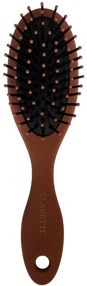 Clarette Щетка для волос массажная компакт, цвет: терракотовыйCMB 558Коллекция Clarette Матовая - это разнообразные щетки для ухода за волосами.Основа и ручка щеток выполнена из прорезиненного пластика, что позволяет щетке не скользить в руках при расчесывании.Пластиковые зубья с массажными шариками обеспечивают идеальный массаж кожи головы, стимулируя рост волос. Компактный размер щетки делает ее удобной в дороге. Легко помещается в дамской сумочке.