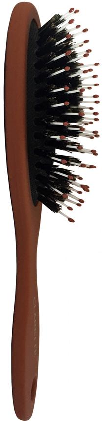 Clarette Щетка для волос со смешанной щетиной большая, цвет: терракотовыйCMB 561Коллекция Clarette Матовая - это разнообразные щетки для ухода за волосами.Основа и ручка щеток выполнена из прорезиненного пластика, что позволяет щетке не скользить в руках при расчесывании.Натуральная щетина дикого кабана придает волосам блеск, предотвращает ломкость и сечение волос. Пластиковые зубья с массажными шариками интенсивно массируют кожу головы, идеально прочесывая волосы.