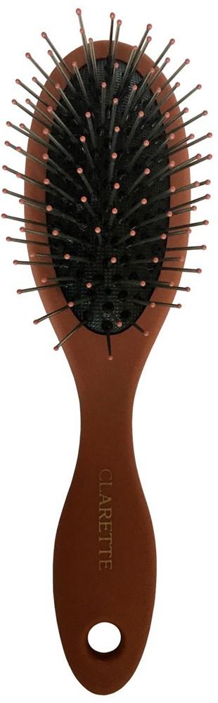 Clarette Щетка для волос массажная с металлическими зубцами компакт, цвет: терракотовый щетка для волос riffi с металлическими зубцами 5804