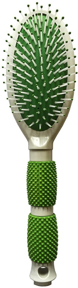 Silva Щетка для волос массажная с ободком, универсальная с резиновыми вставками на ручке, цвет: зеленый