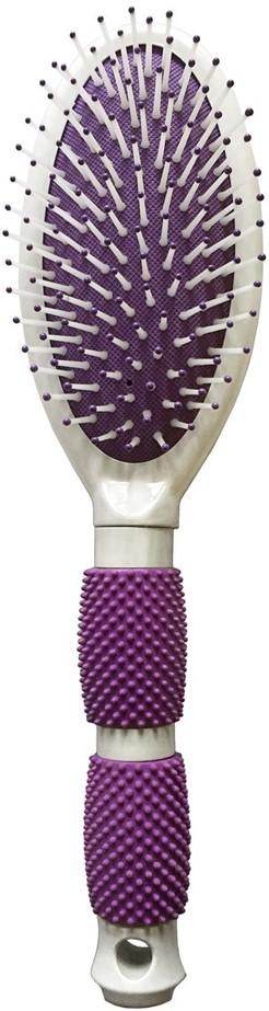 Silva Щетка для волос массажная с ободком, универсальная с резиновыми вставками на ручке, цвет: сиреневый