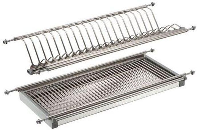 Сушилка для посуды Lemax, 2-уровневая, с поддоном, цвет: стальной, длина 60 смLE 600Сушка встраивается в кухонный шкаф. Изготовлена из нержавеющей стали, в комплекте с поддоном. Ширина сушки 260 мм.