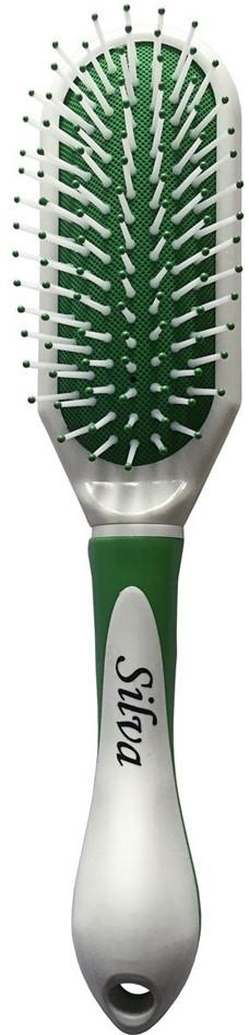Silva Щетка для волос массажная на подушке, цвет: зеленый