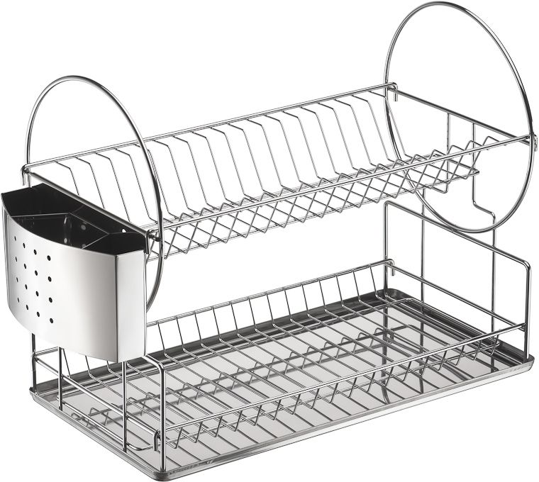 Посудосушитель настольный с пластиковым поддоном и стаканом для сушки столовых приборов.  Размер посудосушителя: 450 х 210 х 330 мм. Цвет: хром. Яркая индивидуальная упаковка Lemax.
