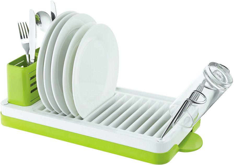 Сушилка для посуды Lemax, настольная, цвет: хром, белый, зеленый, 46,9 х 22,5 х 16,5 смLF-143Посудосушитель настольный. Размер посудосушителя: 469 х 225 х 165 мм. Цвет: хром, белый, зеленый. Яркая индивидуальная упаковка Lemax.