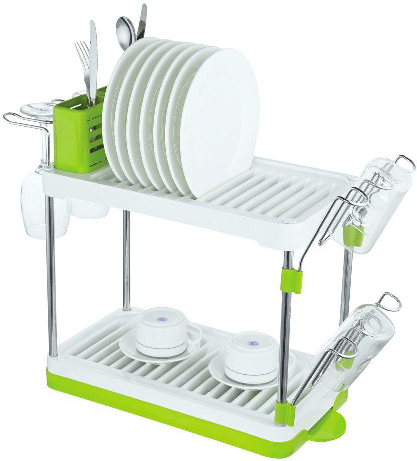Сушилка для посуды Lemax, 2-ярусная, настольная, цвет: хром, белый, зеленый, 46,9 х 22,5 х 41,8 смLF-144Размер посудосушителя: 469 х 225 х 418 мм.Цвет: хром, белый, зеленый.Яркая индивидуальная упаковка Lemax.