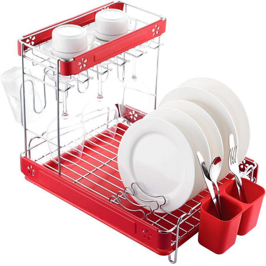 Сушилка для посуды Lemax, 2-ярусная, настольная, цвет: хром, красный, 51,7 х 35,2 х 38,4 смLF-146Размер посудосушителя: 517 х 352 х 384 мм.Цвет: хром, красный.Яркая индивидуальная упаковка Lemax.