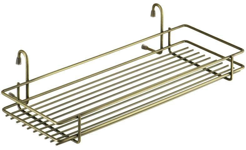 "Полка кухонная ""Lemax"", навесная, на рейлинг, цвет: бронза, 45 х 21,5 х 10,5 см"