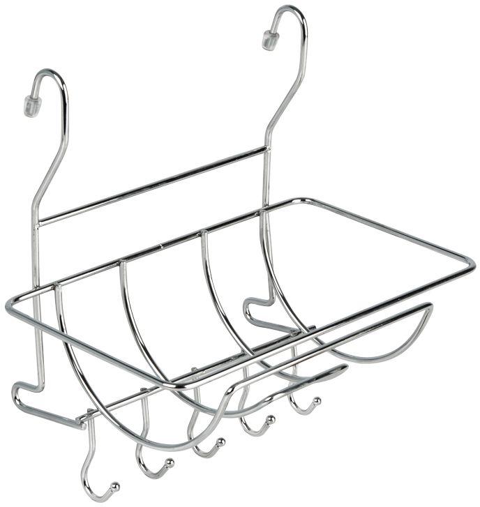 Полка для полотенец Lemax, с крючками, на рейлинг, цвет: хром, 26 х 18 х 27 смMX-401