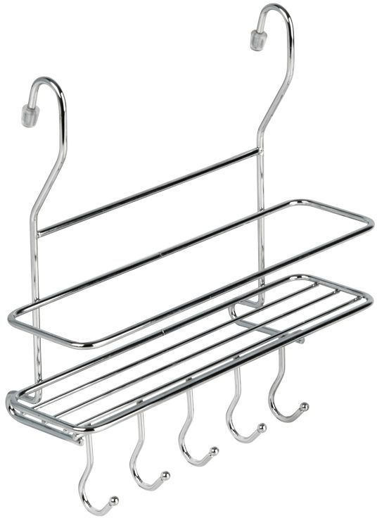 Полка кухонная Lemax, с крючками, на рейлинг, цвет: хром, 26,5 х 10 х 27 смMX-402