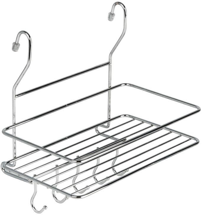 Полка кухонная Lemax, с крючками, на рейлинг, цвет: хром, 26 х 18 х 27 смMX-403Кухонная полка Lemax - это один из удобных навесных аксессуаров на рейлинг. Позволяет хранить кухонные принадлежности всегда под рукой, обеспечиваямаксимальный комфорт на кухне. Наличие 5 крючков у полки позволяет дополнительно разместить полотенца или кухонные аксессуары.Полка изготовлена из высококачественного металла, легко и надежно крепится на трубу рейлинга, прослужит долго.