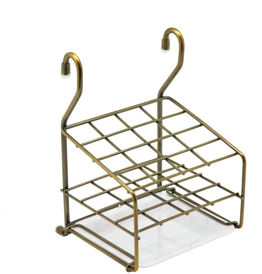 Держатель для столовых приборов Lemax, навесной, на рейлинг, цвет: бронза, 14,9 х 15 х 22,2 см подставка для столовых приборов cosmoplast цвет красный диаметр 14 см