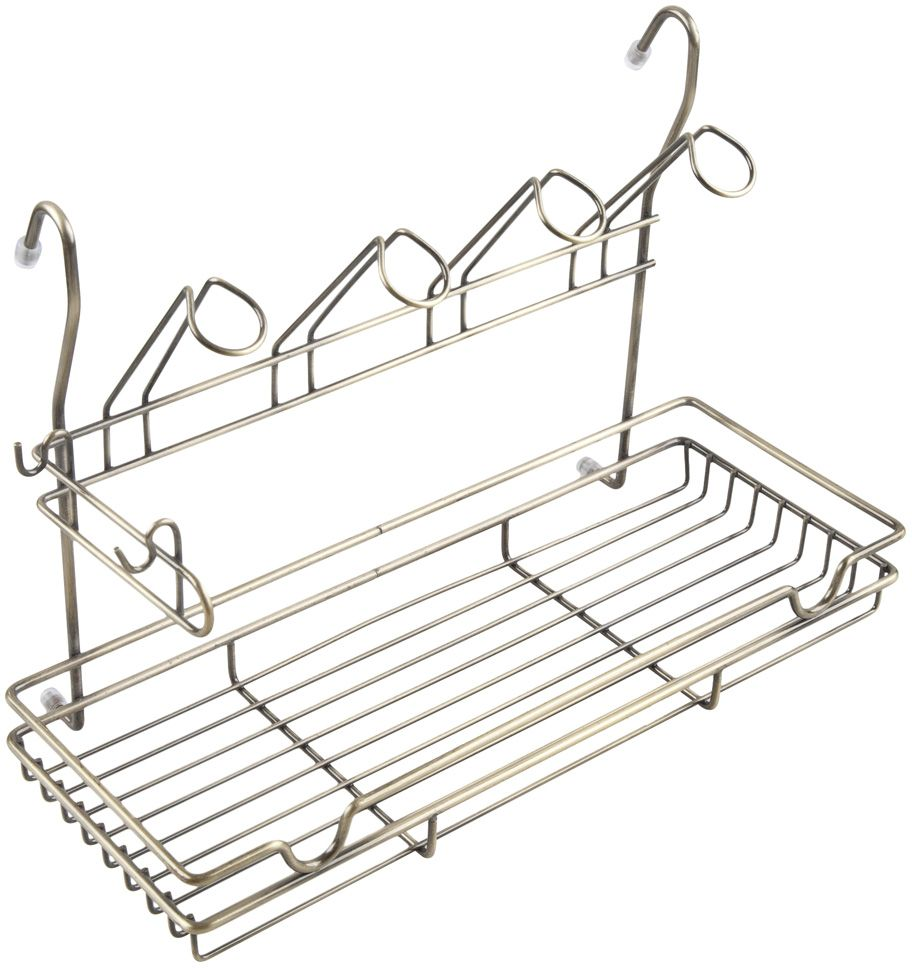 Полка кухонная Lemax, комбинированная, навесная, на рейлинг, цвет: бронза, 39 х 17,3 х 26,5 смMX-420 BA