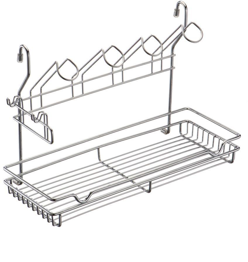 Полка кухонная Lemax, комбинированная, навесная, на рейлинг, цвет: хром, 39 х 17,3 х 26,5 смMX-420