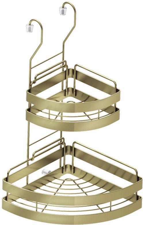 Полка кухонная Lemax, 2-ярусная, угловая, навесная, на рейлинг, цвет: бронза, 23 х 23 х 43,5 смMX-422 BA320 х 235 х 430 мм