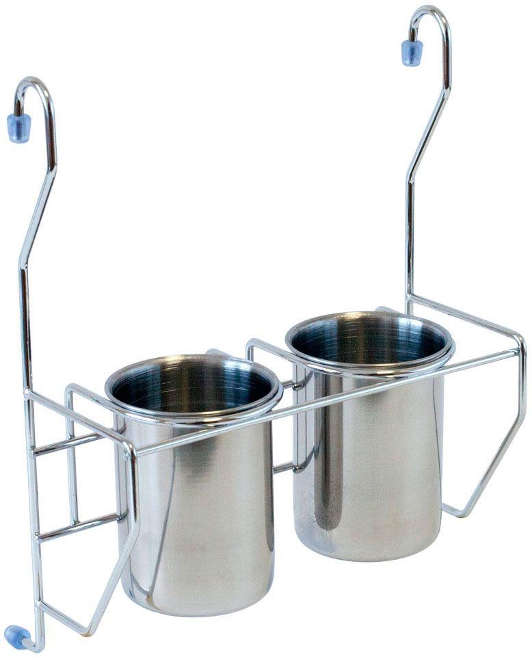 """Держатель с 2 стаканами для столовых приборов """"Lemax"""" позволяет использовать пространство на стене, освобождая рабочую поверхность. Он станет полезным аксессуаром в домашнем быту и идеально впишется в интерьер современной кухни. Изделия выполнены из нержавеющей стали. Держатель легко и надежно вешается на трубу рейлинга."""