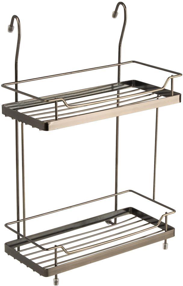 """Двухъярусная полка """"Lemax"""" - это оптимальное решение, особенно, для небольшой кухни. Используйте пространство на стене, освобождая рабочую поверхность. Узкая полочка идеальна для соусов и специй. Полка изготовлена из стали, надежно крепится на трубу рейлинга, прослужит долго."""