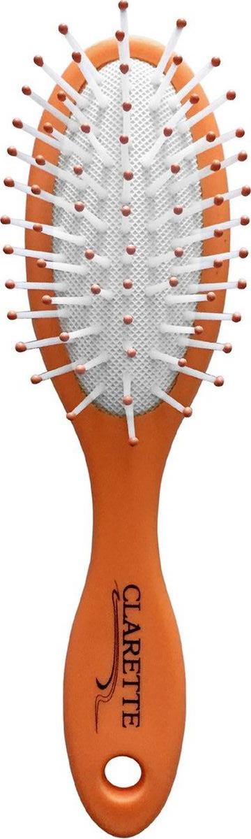 Clarette Щетка для волос массажная компакт матовая оранжеваяCMB 667Коллекция Clarette «Матовая» - это разнообразные щетки для ухода за волосами. Основа и ручка щеток выполнена из прорезиненного пластика, что позволяет щетке не скользить в руках при расчесывании.Пластиковые зубья с массажными шариками обеспечивают идеальный массаж кожи головы, стимулируя рост волос. Компактный размер щетки делает ее удобной в дороге. Легко помещается в дамской сумочке.