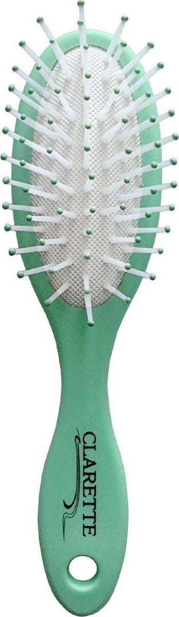 Clarette Щетка для волос массажная компакт матовая салатоваяCMB 668Коллекция Clarette «Матовая» - это разнообразные щетки для ухода за волосами. Основа и ручка щеток выполнена из прорезиненного пластика, что позволяет щетке не скользить в руках при расчесывании.Пластиковые зубья с массажными шариками обеспечивают идеальный массаж кожи головы, стимулируя рост волос. Компактный размер щетки делает ее удобной в дороге. Легко помещается в дамской сумочке.