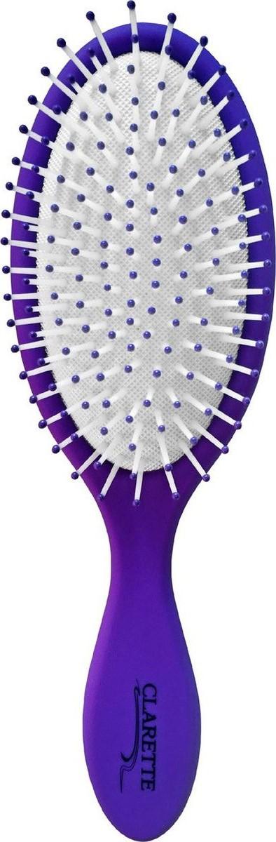 Clarette Щетка для волос массажная большая матовая сиреневаяCMB 671Коллекция Clarette «Матовая» - это разнообразные щетки для ухода за волосами. Основа и ручка щеток выполнена из прорезиненного пластика, что позволяет щетке не скользить в руках при расчесывании.Пластиковые зубья с массажными шариками обеспечивают идеальный массаж кожи головы, стимулируя рост волос.