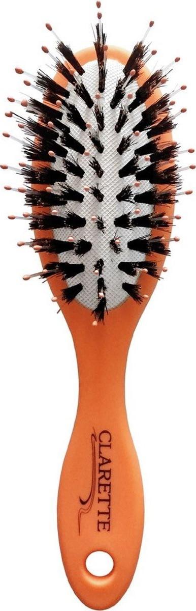 Clarette Щетка для волос массажная большая матовая оранжеваяCMB 675Коллекция Clarette «Матовая» - это разнообразные щетки для ухода за волосами. Основа и ручка щеток выполнена из прорезиненного пластика, что позволяет щетке не скользить в руках при расчесывании.Натуральная щетина дикого кабана придает. Пластиковые зубья с массажными шариками интенсивно массируют кожу головы , идеально прочесывая волосы. Компактный размер щетки делает ее удобной в дороге. Легко помещается в дамской сумочке.