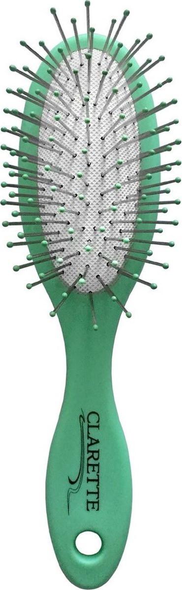 Clarette Щетка для волос массажная компакт с метал. зубьями матовая салатоваяCMB 682Коллекция Clarette «Матовая» - это разнообразные щетки для ухода за волосами. Основа и ручка щеток выполнена из прорезиненного пластика, что позволяет щетке не скользить в руках при расчесывании.Универсальная щетка предназначена для любого типа волос. Металлические зубья с массажными шариками обеспечивают идеальный массаж кожи головы, стимулируют рост волос.Компактный размер щетки делает ее удобной в дороге. Легко помещается в дамской сумочке.