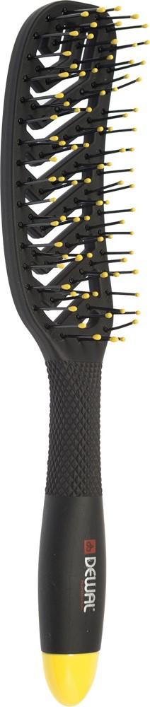 Dewal Щетка массажная Bananablack прямоугольная, продувная, узкая, пластиковый штифт, 8 рядов массажная палочка шунгит 8 10 см