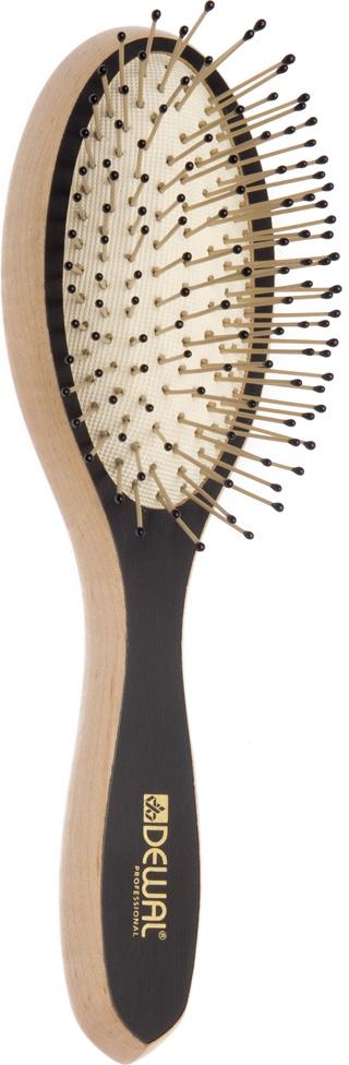 Dewal Щетка массажная Blackwood, овальная, деревянная, нейлоновый штифт, 9 рядов dewal щетка массажная galaxi квадратная деревянная пластиковый штифт 9 рядов