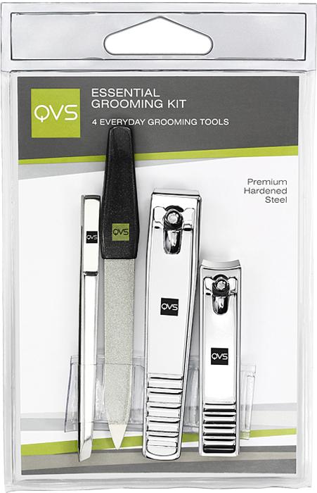 QVS Набор инструментов: кусачки маникюрные, кусачки педикюрные, пилочка для ногтей, пинцет