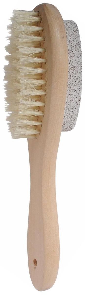 Щетка деревянная Home Queen, с пемзой, длина 20 см10-2155Щетка Home Queen, выполненная из щетины и дерева, прекрасно подходит для бани и сауны. Щетка с натуральными щетинками отлично очищает и массирует кожу, стимулируетциркуляцию крови, очищает поры. Благодаря глубокому массажному воздействию обладает антицеллюлитным эффектом. Щетку можно использовать для сухого массажа. С другой стороны щетка имеет пемзу которая прекрасно удалит огрубевшую, сухую кожу ступней и локтей, оставляя их мягкими и гладкими.Щетка Home Queen имеет деревянную ручку для удобства использования и текстильную петельку для подвешивания. Длина щетинок: 1,5 см. Размер пемзы: 8 см х 2,5 см х 1,2 см.Общий размер щетки (с учетом ручки и пемзы): 18 см х 4 см х 4,5 см.