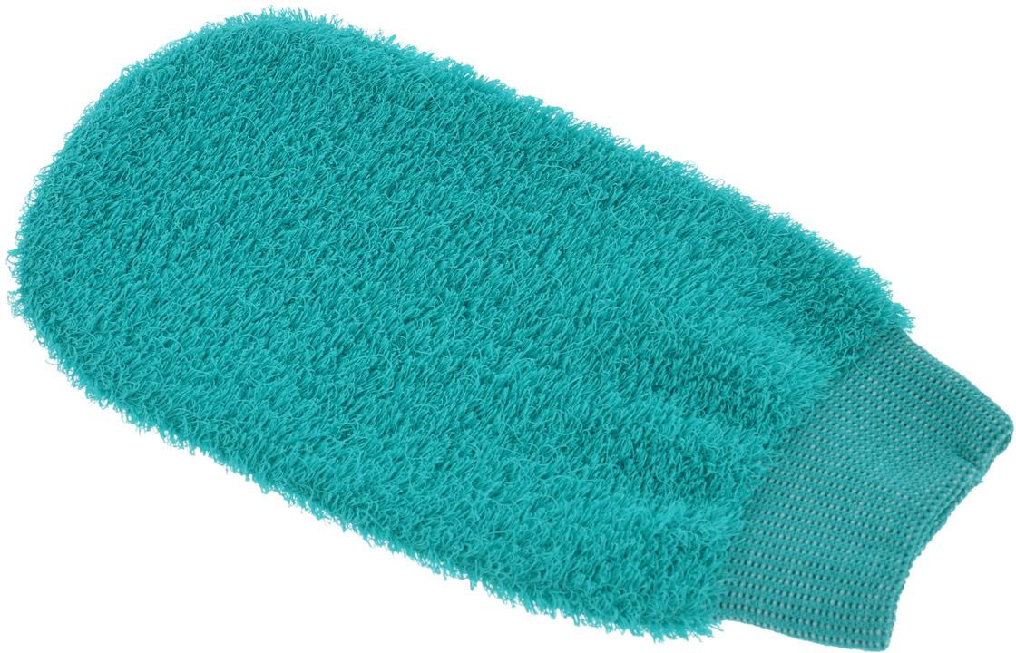 "Мочалка-рукавица ""Riffi"", жесткая, цвет: изумрудный"